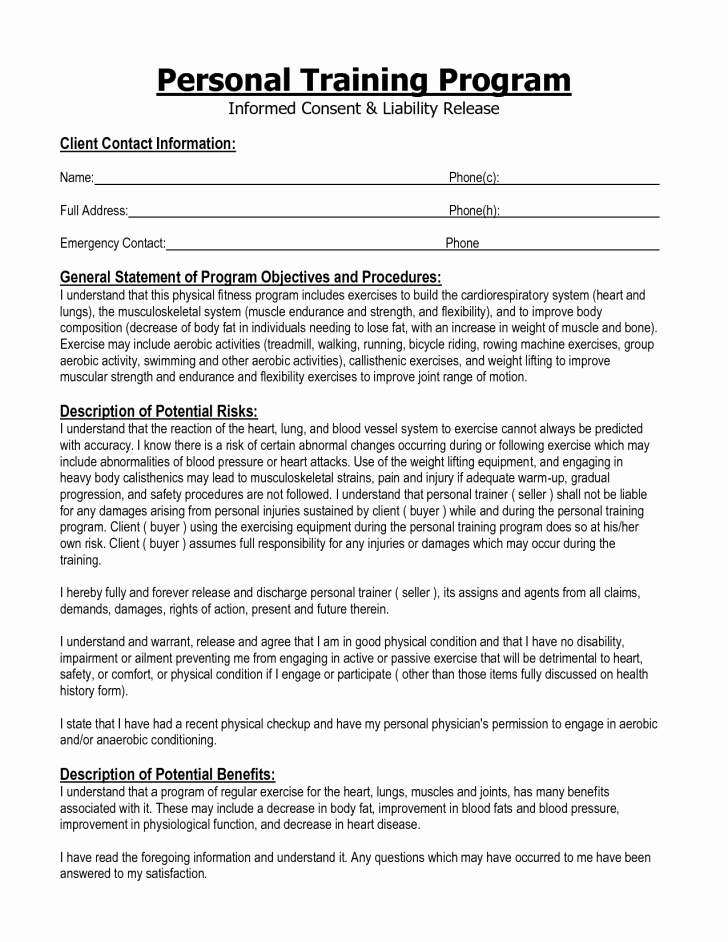 Personal Training Agreement Template Unique Agreement Training Agreement form