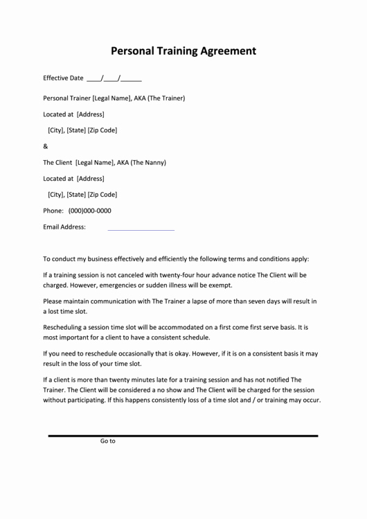 Personal Training Agreement Template Unique Personal Training Agreement Printable Pdf