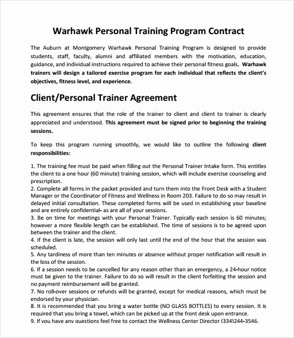 Personal Training Contract Template Best Of Weight Loss Programme Pdf