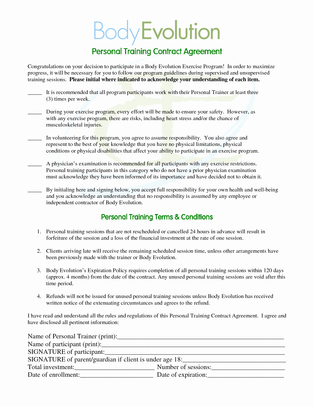 Personal Training Contract Template Fresh 10 Best Of Personal Contract Agreement Sample
