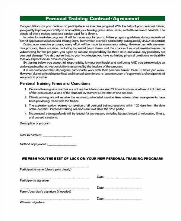 Personal Training Contract Template Lovely Personal Agreement form Samples 9 Free Documents In Pdf
