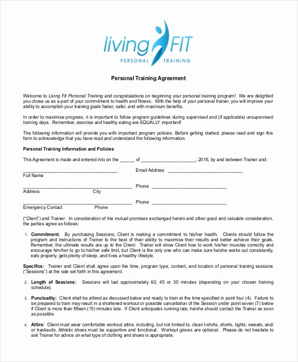 Personal Training Contract Template Luxury 10 Sample Personal Agreement forms Free Sample Example