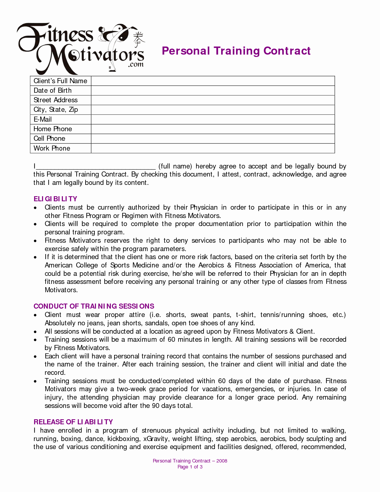 Personal Training Contract Template New Personal Training Contract Agreement
