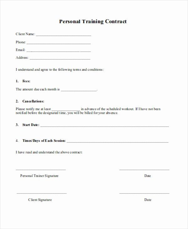 Personal Training Contract Template Unique 12 Training Contract Templates