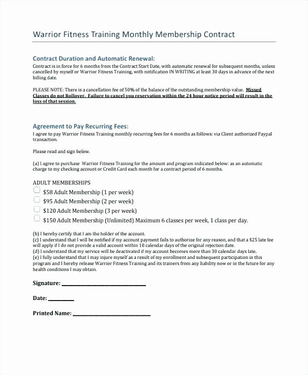 Personal Training Contracts Template Beautiful Personal Training Contract Template – Chaseevents