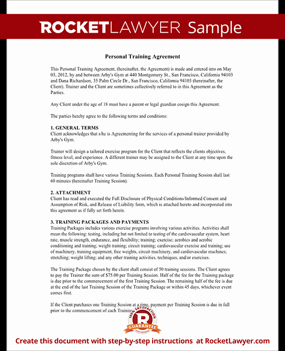 Personal Training Contracts Template Fresh Personal Trainer forms Personal Training Contract