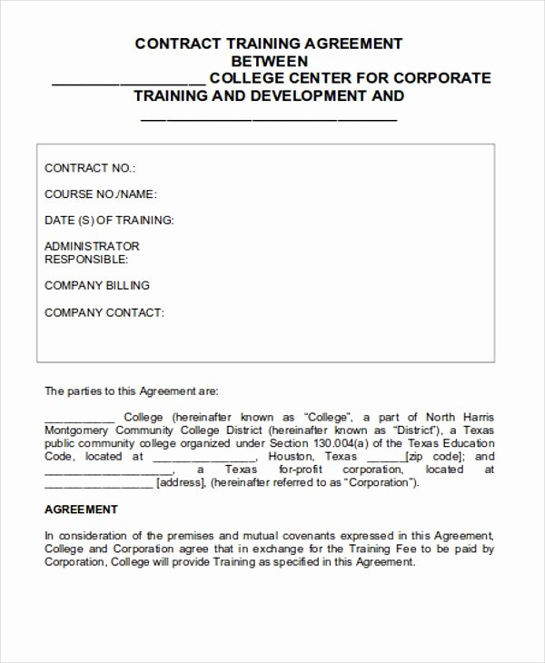 Personal Training Contracts Template Lovely 12 Training Contract Templates