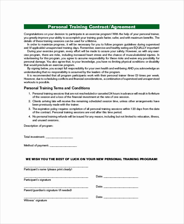 Personal Training Contracts Template Lovely Training Agreement Contract Sample 13 Examples In Word