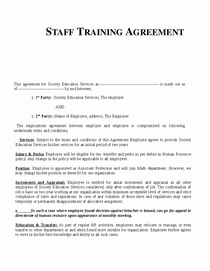 Personal Training Contracts Template Lovely Training Agreement form Free Printable Personal Training