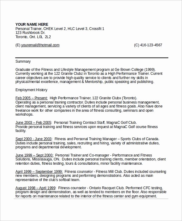 Personal Training Program Template Best Of 9 Sample Personal Trainer Resumes