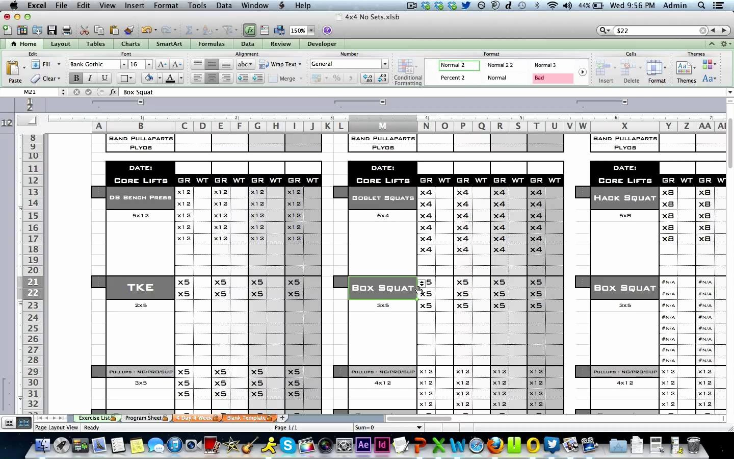 workout template excel 930