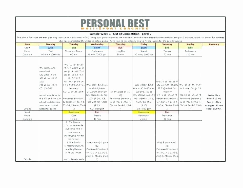 Personal Training Program Template Lovely Personal Trainer Fitness Plan Template