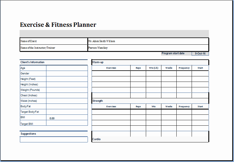 Personal Training Program Template New Exercise and Fitness Planner