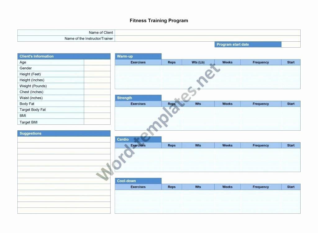 Personal Training Program Template Unique Fitness Training Plan Template Free – Template Gbooks