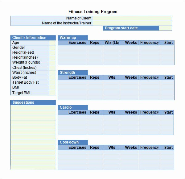 Personal Training Program Template Unique Training Plan Template 16 Download Free Documents In
