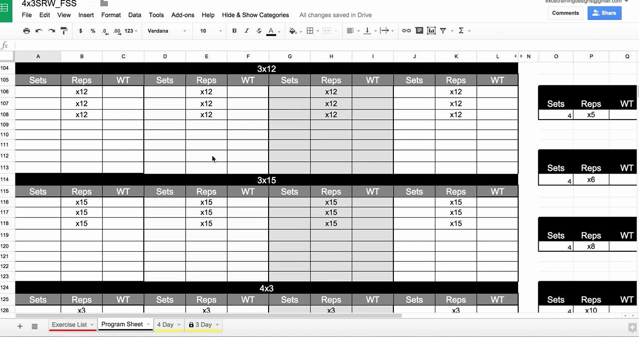 Personal Training Workout Template Best Of Personal Training Spreadsheet In Google Drive