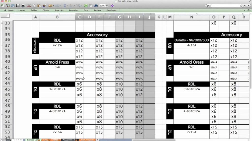 Personal Training Workout Template Elegant Layne norton Ph3 Spreadsheet
