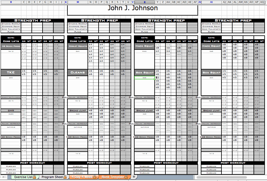 Personal Training Workout Template Inspirational Excel Personal Training Templates Excel Training Designs