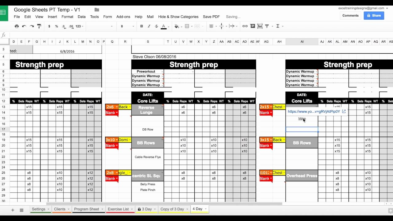 Personal Training Workout Template Lovely Setting Up Your Google Sheets Personal Training Template