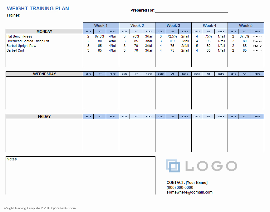 Personal Training Workout Template Lovely Weight Training Plan Template for Excel