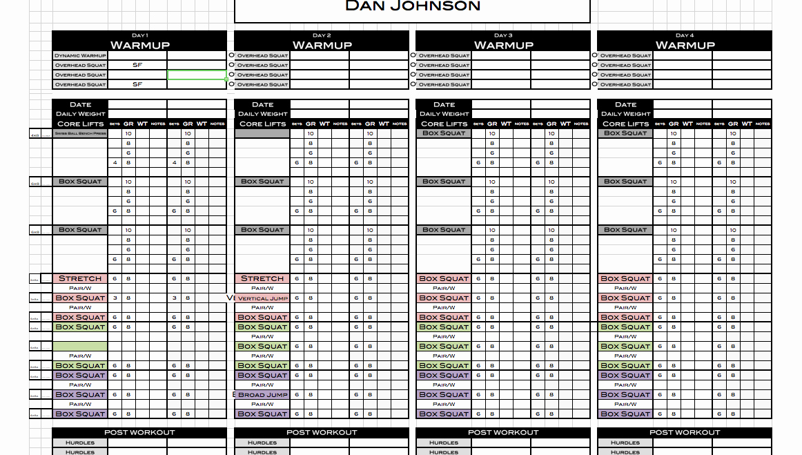 Personal Training Workout Template Luxury Excel Personal Training Templates Excel Training Designs