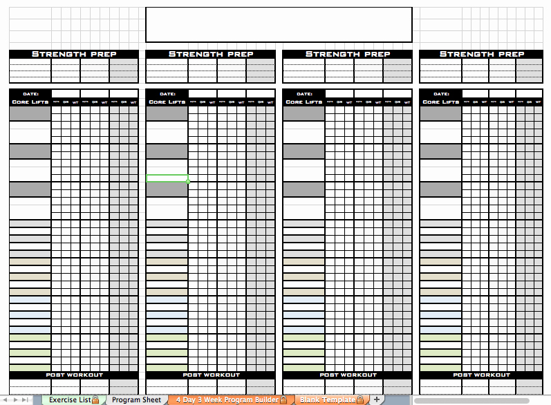 Personal Training Workout Template New Excel Personal Training Templates Excel Training Designs