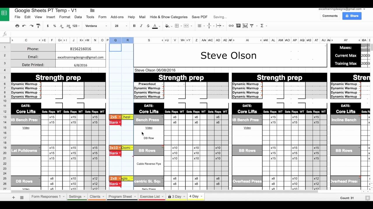 Personal Training Workout Template New Google Sheets Personal Training Templates Exercise