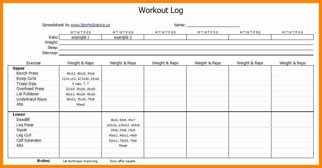 Personal Training Workout Template Unique Workouts Log Templates Printable In Pdf Excel Template