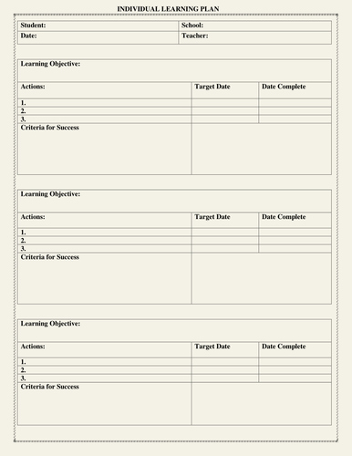 Personalised Learning Plans Template Elegant Individual Learning Plan Template by Moedonnelly