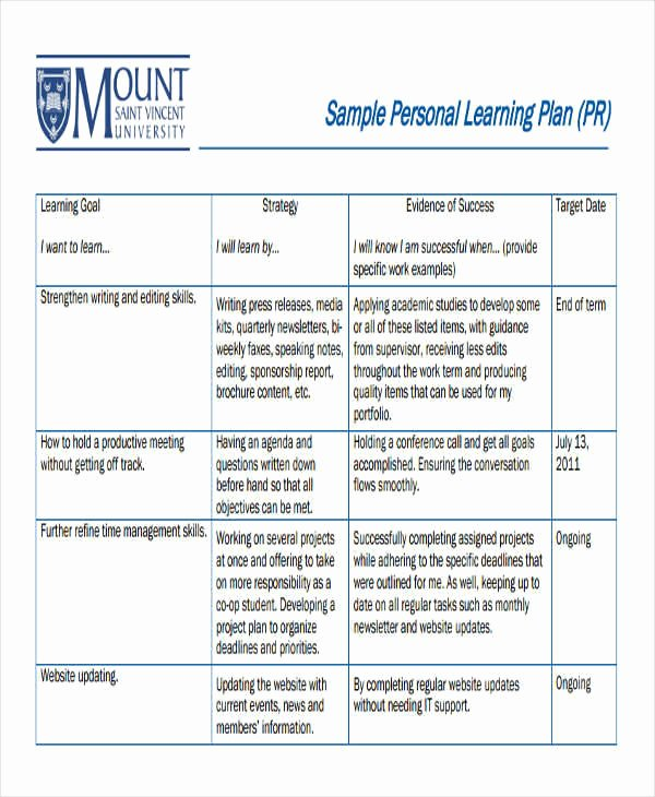 Personalised Learning Plans Template Lovely 8 Personal Plan Samples & Templates