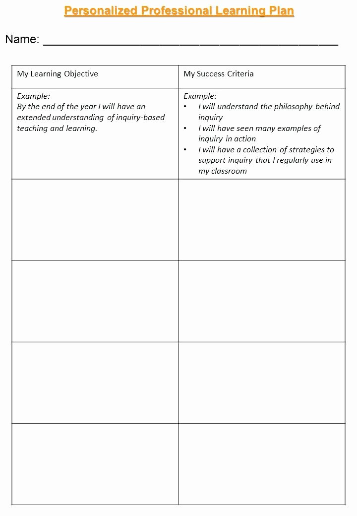 Personalised Learning Plans Template New School Professional Development Plan Template Example for