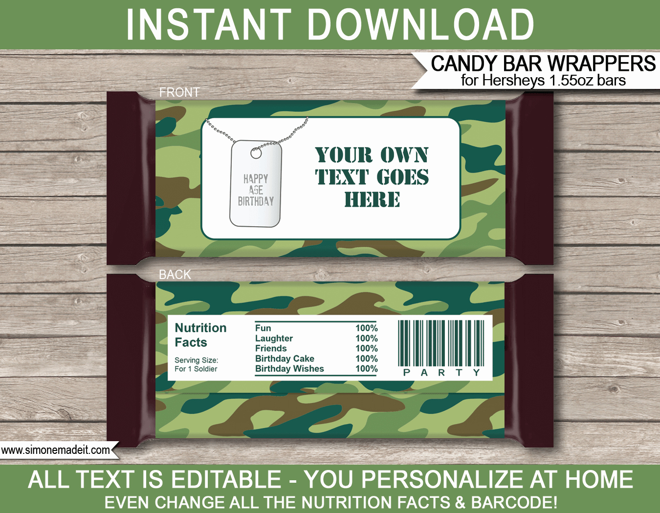 Personalized Candy Wrapper Template Beautiful Army Camo Hershey Candy Bar Wrappers