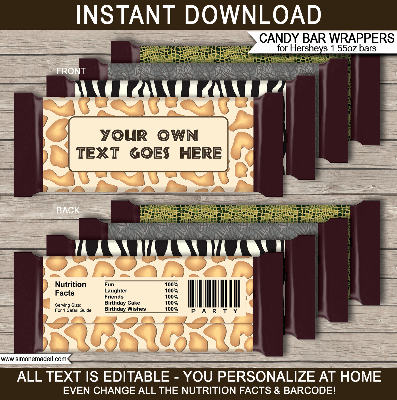 Personalized Candy Wrapper Template Best Of Safari Hershey Candy Bar Wrappers