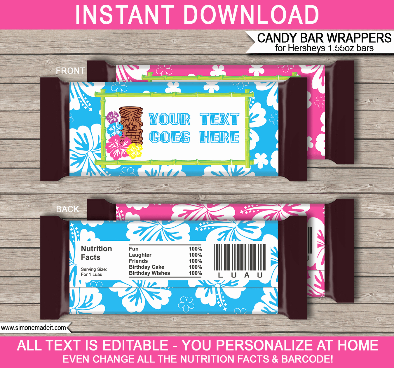 Personalized Candy Wrapper Template Inspirational Luau Hershey Candy Bar Wrappers