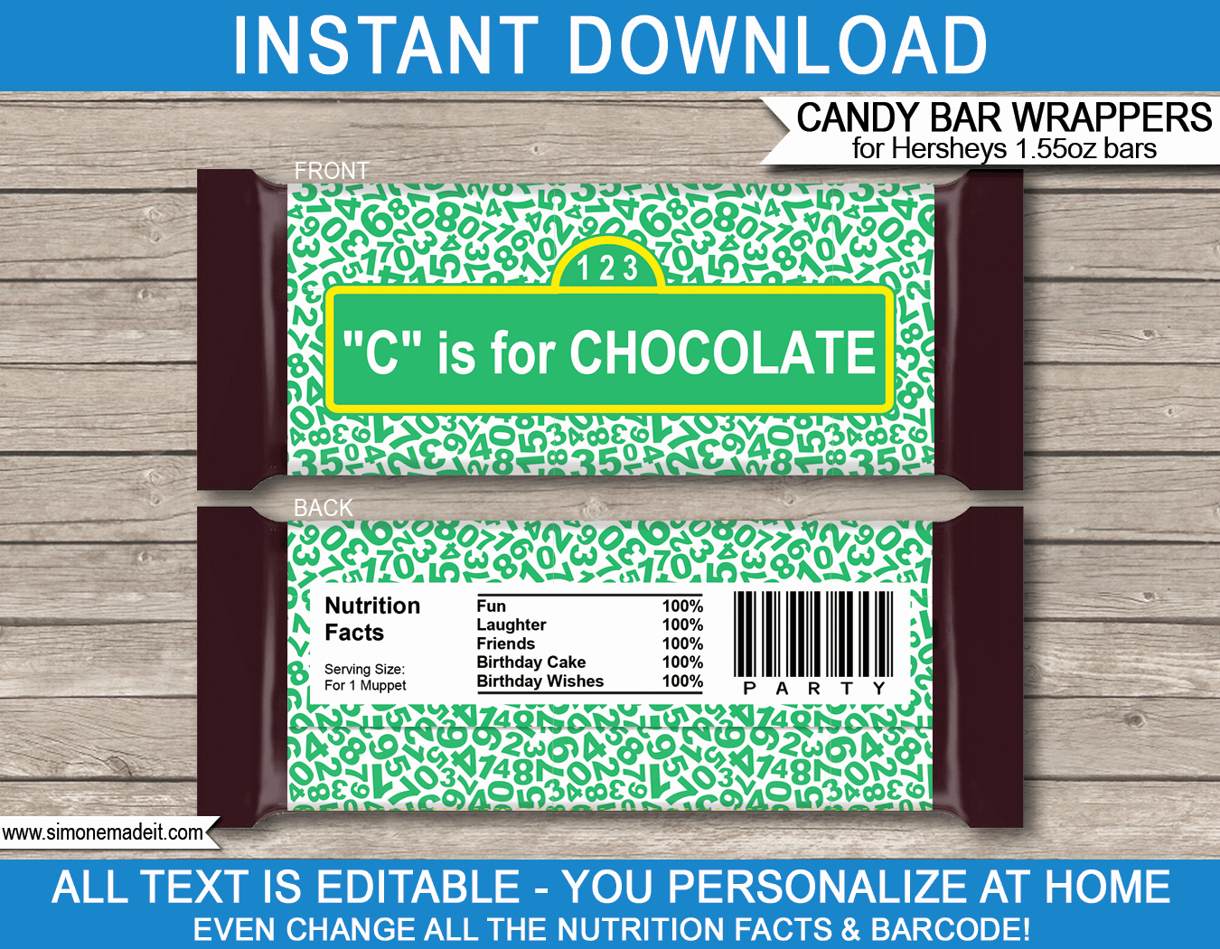Personalized Candy Wrapper Template Inspirational Sesame Street Hershey Candy Bar Wrappers
