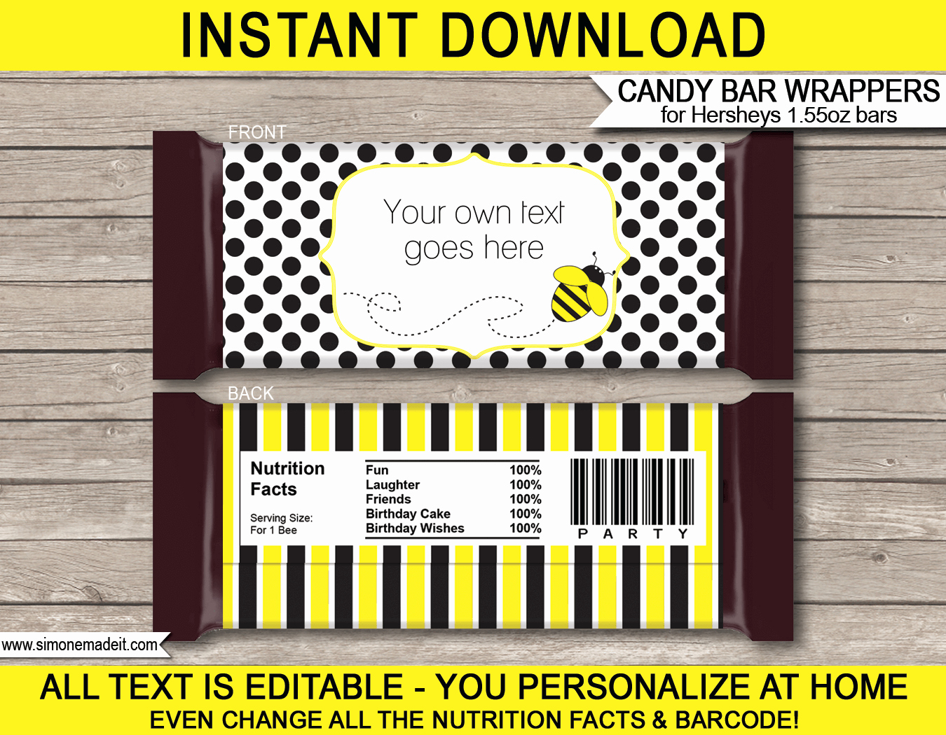 Personalized Candy Wrapper Template New Bee Hershey Candy Bar Wrappers