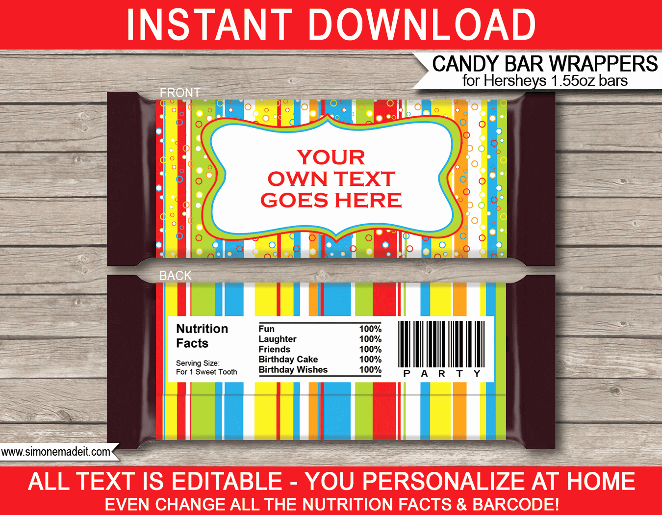 Personalized Candy Wrapper Template New Colorful Hershey Candy Bar Wrappers
