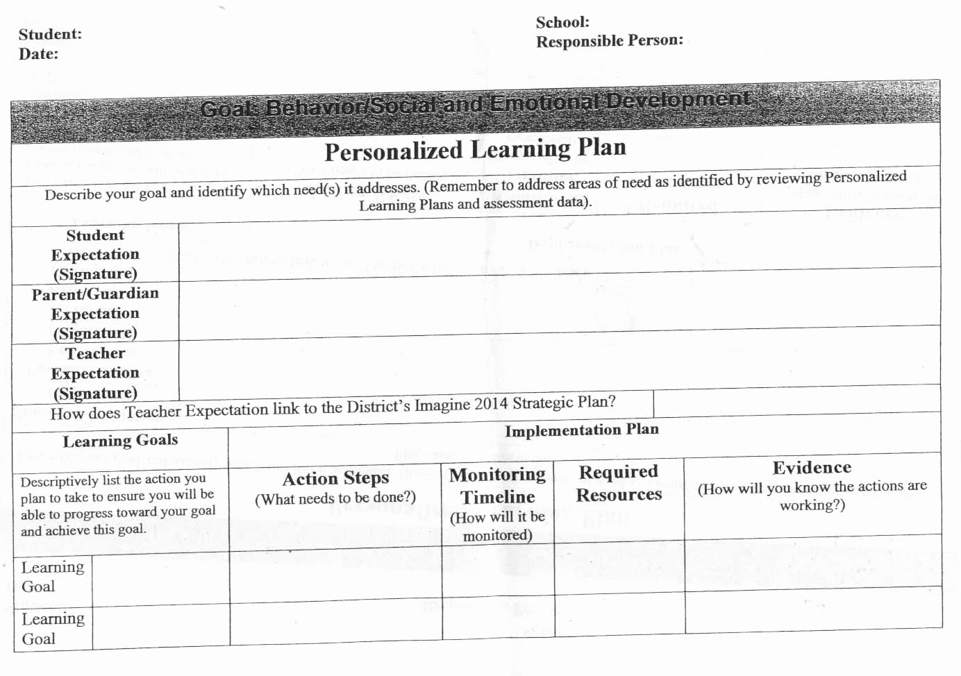 Personalized Learning Plan Template Awesome 18 Of Student Learning Plan Template