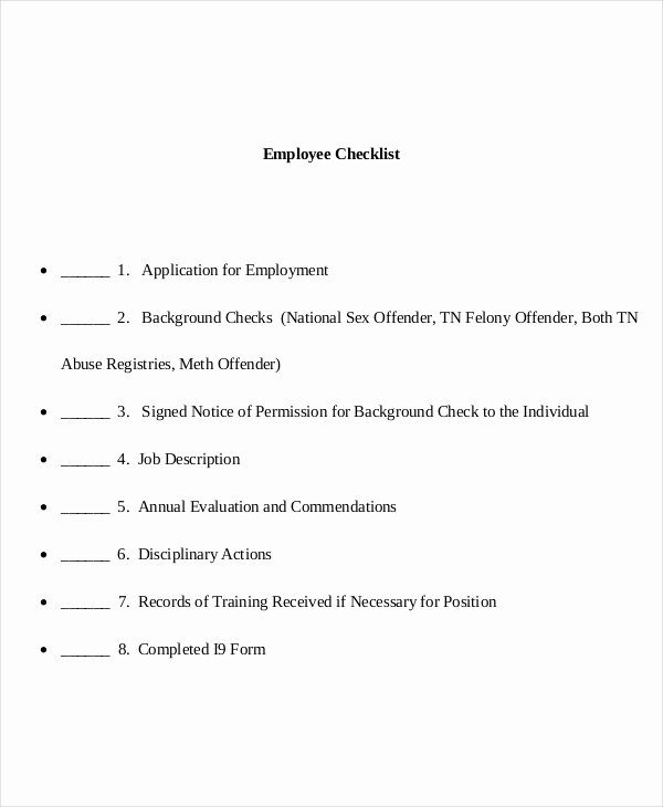 Personnel File Checklist Template Beautiful Employee Checklist Template 9 Free Word Pdf Documents