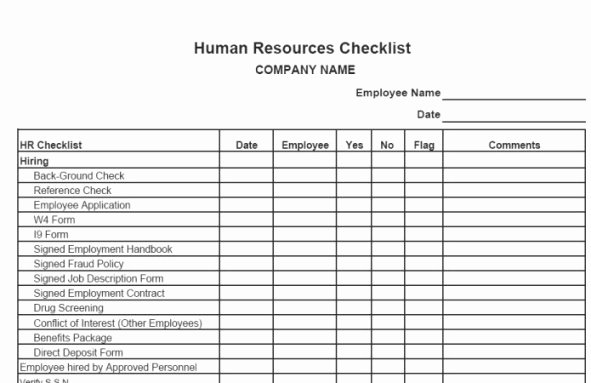 Personnel File Checklist Template Fresh 24 Of Employee Audit Template