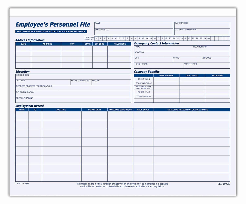 Personnel File Checklist Template Inspirational Employee Personnel File Template