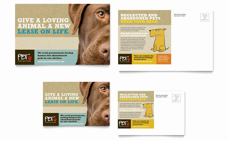 Pet Adoption Flyer Template Lovely Animal Shelter & Pet Adoption Postcard Template Word