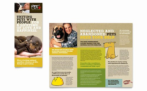 Pet Adoption Flyer Template New Animal Shelter & Pet Adoption Tri Fold Brochure Template
