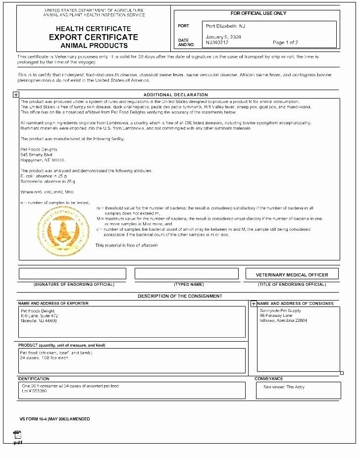 Pet Health Certificate Template Fresh Pet Medical Record Template Veterinary Medicine Record