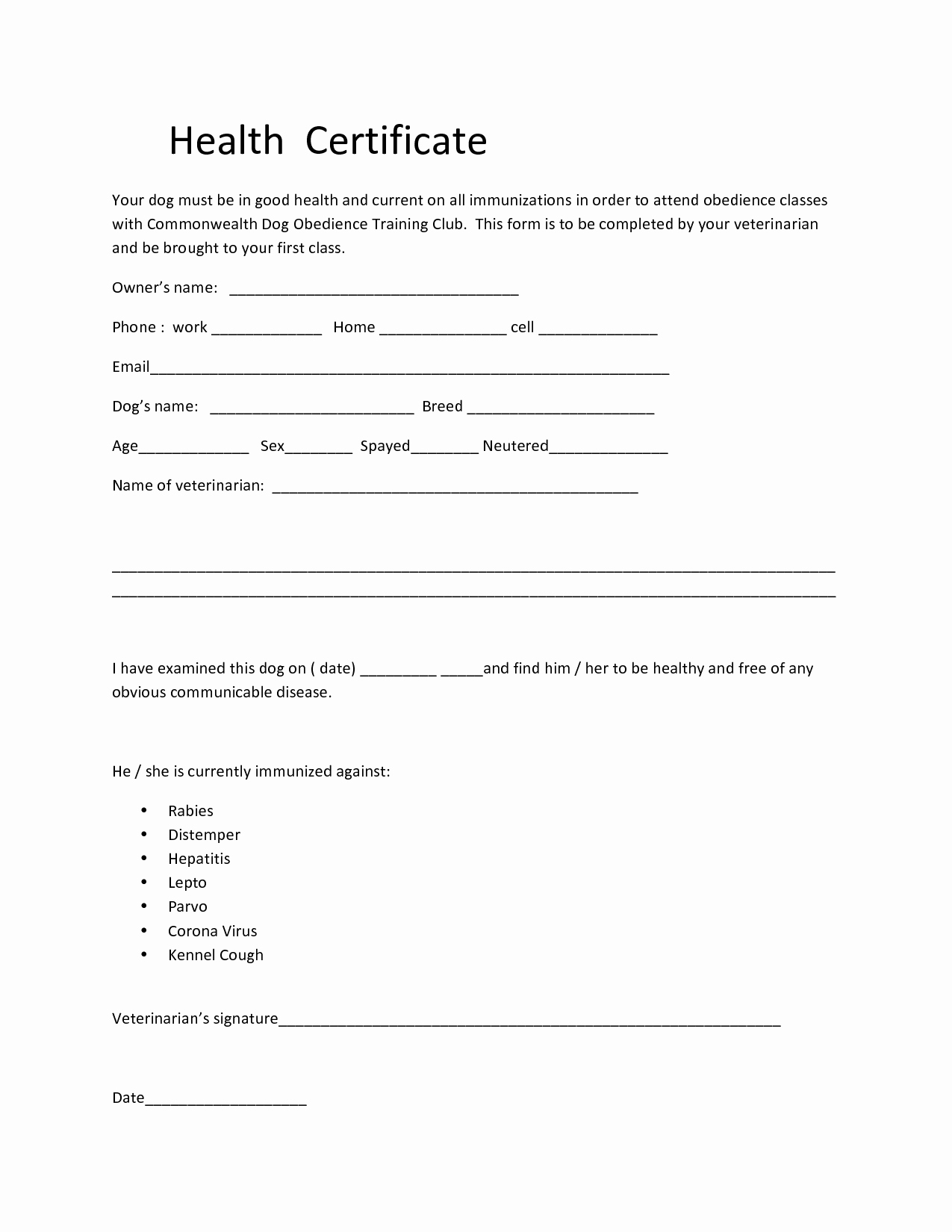 Pet Health Certificate Template New Dog Health Certificate form Related Keywords Dog Health