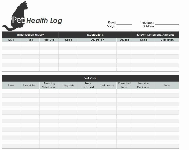 Pet Health Certificate Template Unique Pet Health Record Template