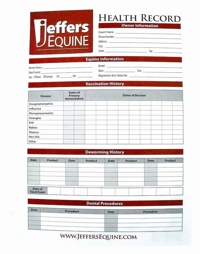 Pet Health Record Template Best Of Vaccination Record form Template Inspirational