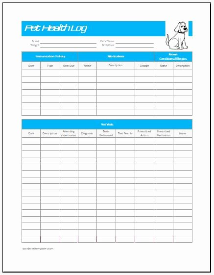 Pet Health Record Template Inspirational Pet Health Log Template for Excel