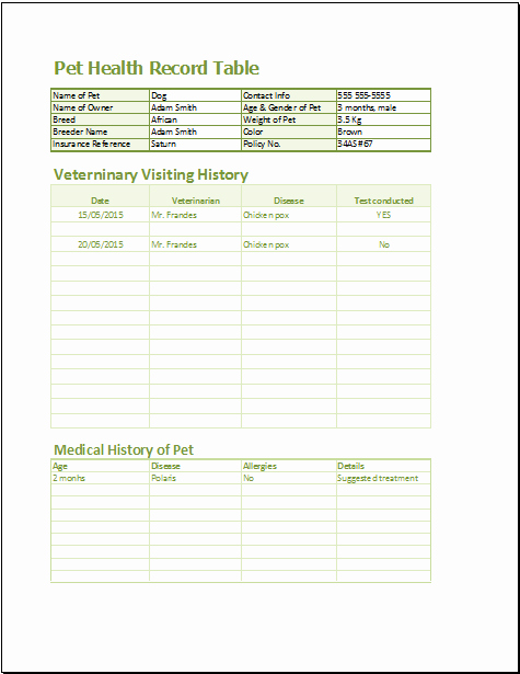 Pet Health Record Template New 20 Medical form Logs Sheets & Templates