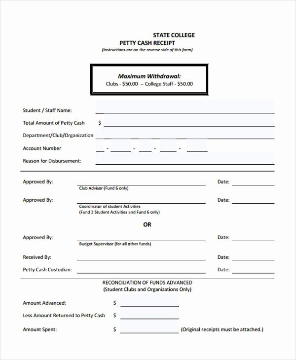 Petty Cash Receipt Template Lovely Printable Receipt forms 41 Free Documents In Word Pdf